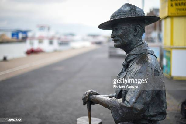 General view of the Lord BadenPowell statue on June 11 2020 in Poole United Kingdom The statue of Robert BadenPowell on Poole Quay is to be placed...