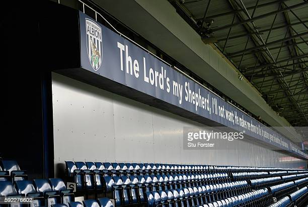 A general view of 'The Lords my Shepherd' hoarding at the Hawthorns before the Premier League match between West Bromwich Albion and Everton at The...
