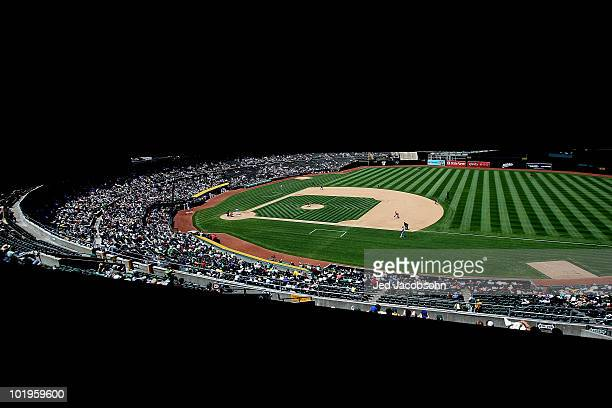 A general view of the Los Angeles Angels of Anaheim against the Oakland Athletics MLB game at the OaklandAlameda County Coliseum on June 10 2010 in...