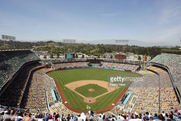 General view of the Los Angeles Dodgers against the Philadelphia Phillies in the seventh inning at Dodger Stadium on June 4 2006 in Los Angeles...