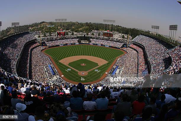 General view of the Los Angeles Dodgers home opener against the San Francisco Giants at Dodger Stadium on April 12 2005 in Los Angeles California The...