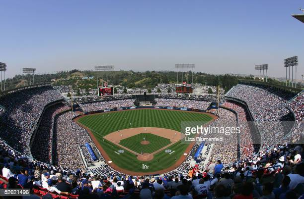 A general view of the Los Angeles Dodgers opening day game against the San Francisco Giants is seen on April 12 2005 at Dodger Stadium in Los Angeles...