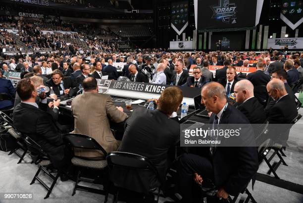 A general view of the Los Angeles Kings draft table is seen during the first round of the 2018 NHL Draft at American Airlines Center on June 22 2018...