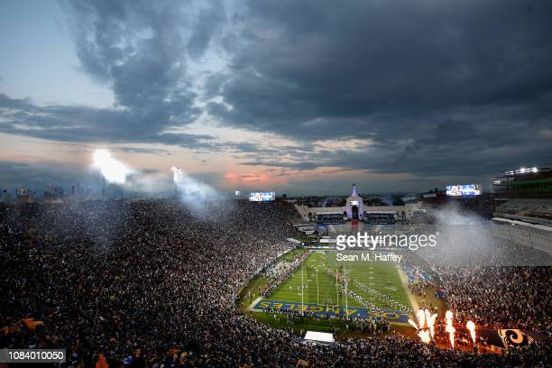 General view of the Los Angeles Memorial Colliseum prior to the NFC Divisional Playoff game between the Dallas Cowboys and the Los Angeles Rams at...