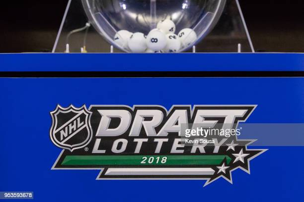 General view of the lottery machine at the NHL Draft Lottery at the CBC Studios on April 28 2018 in Toronto Ontario Canada