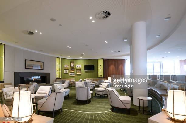 General view of the lounge area on the ground level during a media preview of the new Club Stand at Flemington Racecourse on September 10 2018 in...