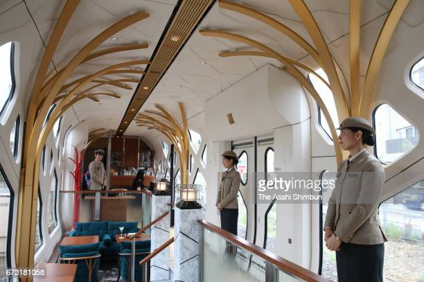 A general view of the lounge of the JR East's 'Train Suite ShikiShima' during the press preview on April 26 2017 in Tokyo Japan The luxury sleeper...
