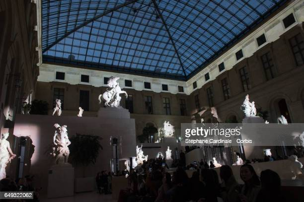 General view of the Louvre Museum during the Louis Vuitton show as part of the Paris Fashion Week Womenswear Fall/Winter 2017/2018 on March 7 2017 in...