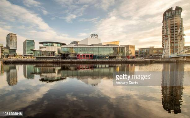 General view of The Lowry, a theatre and gallery complex opposite Media City on March 25, 2020 in Salford, England.