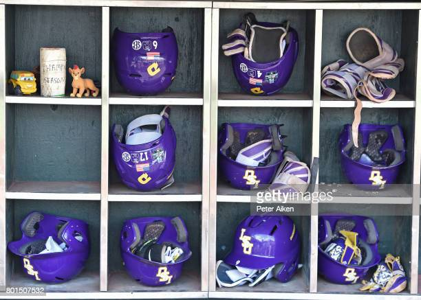 A general view of the LSU Tigers batting helmets prior to game one of the College World Series Championship Series against the Florida Gators on June...
