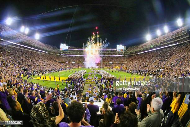 General view of the LSU Tigers runout against Florida Gators on October 12, 2019 at the Tiger Stadium in Baton Rouge, LA.