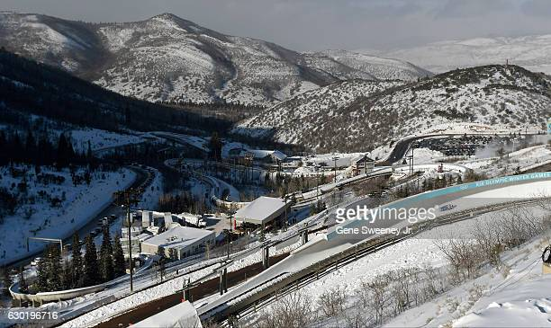 General view of the Luge track at Utah Olympic Park site of the 2016 FIL Luge World Cup event at Utah Olympic Park on December 17 2016 in Park City...