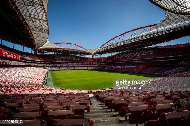 General view of the Luz Stadium in Lisbon taken on June 17 2020 The UEFA Champions League quarterfinals semifinals and final will be played as a...