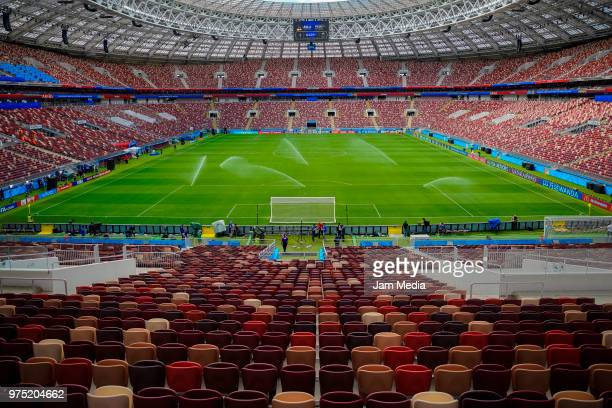A general view of the Luzhniki Stadium ahead of the 2018 FIFA World Cup opening match between Russia and Saudi Arabia on June 13 2018 in Moscow Russia