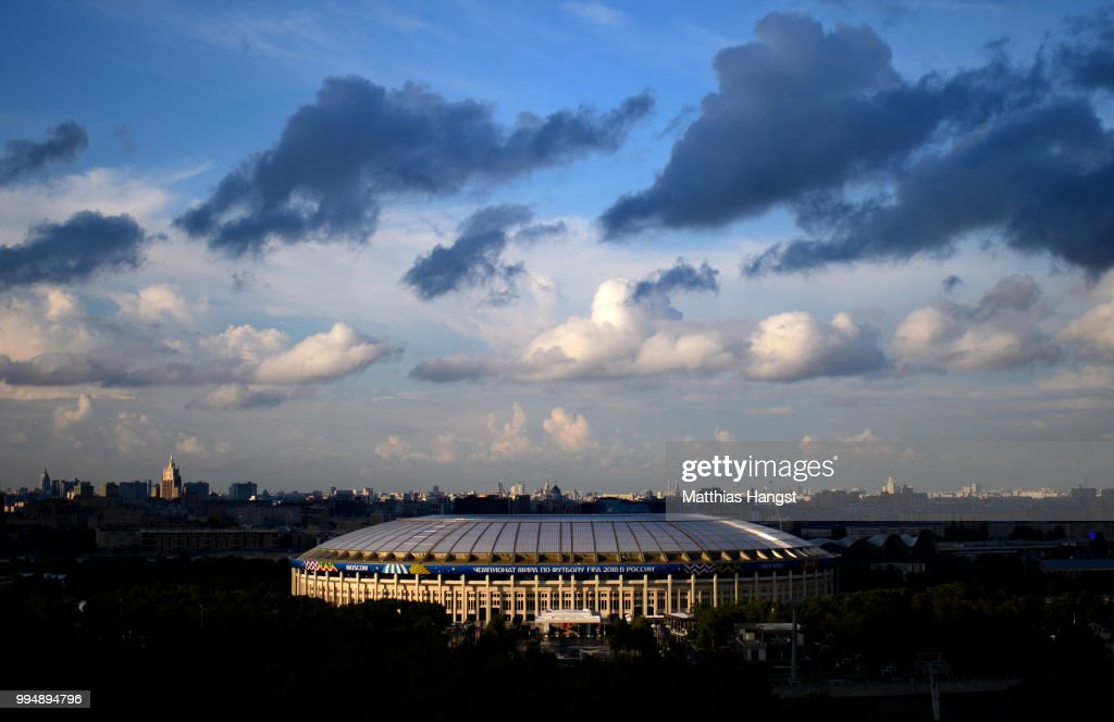 A general view of the Luzhniki Stadium ahead of the 2018 FIFA World Cup semi-final match between England and Croatia on July 9, 2018 in Moscow, Russia.