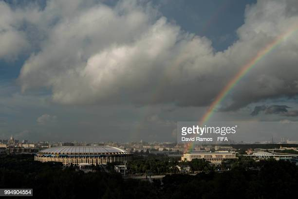 A general view of the Luzhniki stadium ahead of the Russia 2018 FIFA World Cup semifinal match between England and Croatia on July 9 2018 in Moscow...