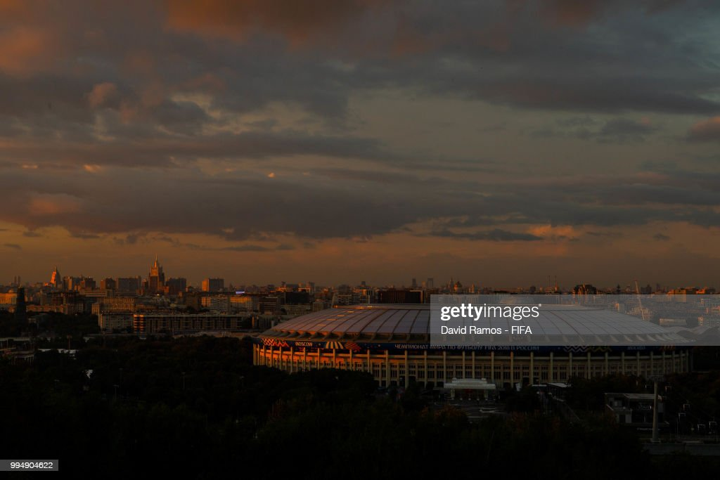 A general view of the Luzhniki stadium ahead of the Russia 2018 FIFA World Cup semi-final match between England and Croatia on July 9, 2018 in Moscow, Russia.