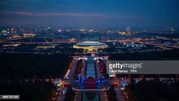 A general view of the Luzhniki stadium ahead of the Russia 2018 FIFA World Cup Final match between France and Croatia on July 14 2018 in Moscow Russia