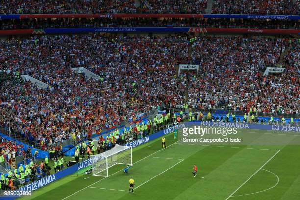 A general view of the Luzhniki Stadium as Russia goalkeeper Igor Akinfeev saves the penalty of Iago Aspas of Spain and wins Russia the match during...