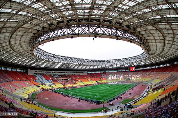 A general view of the Luzhniki stadium before the Champions League Final match between Chelsea and Manchester United on May 21 2008 in Moscow Russia