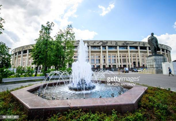 General view of the Luzhniki Stadium in Moscow on May 23, 2018. - The 80,000-seater stadium will host seven World Cup matches including the opening...