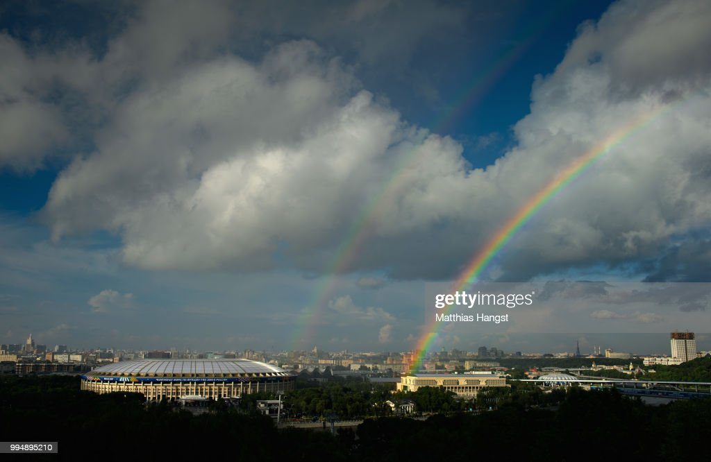 A general view of the Luzhniki Stadium with a rainbow ahead of the 2018 FIFA World Cup semi-final match between England and Croatia on July 9, 2018 in Moscow, Russia.