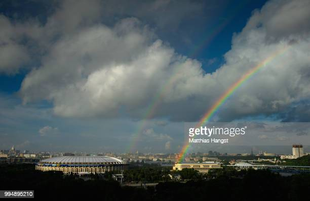 General view of the Luzhniki Stadium with a rainbow ahead of the 2018 FIFA World Cup semi-final match between England and Croatia on July 9, 2018 in...