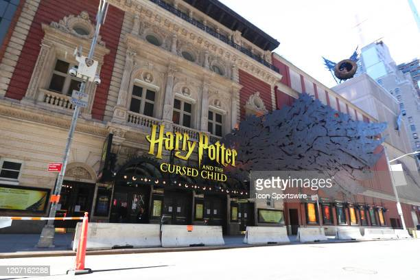 A general view of the Lyric Theater on West 43rd Street and Harry Potter and the Cursed Child marquis on March 14 2020 in New York NY