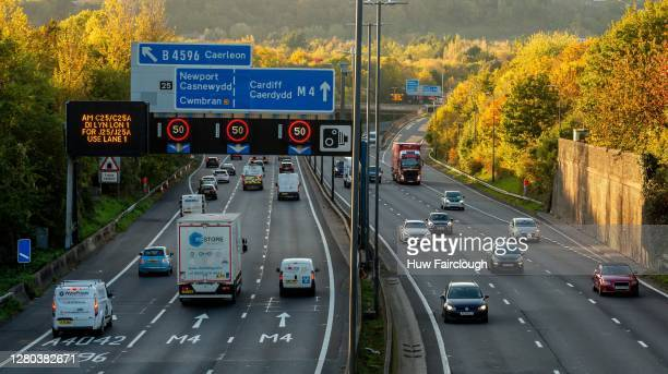 General view of the M4 the main route of road traffic from England to Wales on October 15, 2020 in Newport, Wales, United Kingdom. The Welsh First...