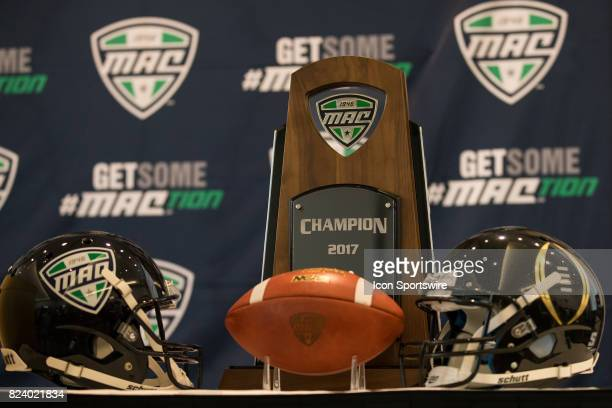 A general view of the MAC football conference championship trophy on display during the MidAmerican Conference football media day on July 26 2017 at...