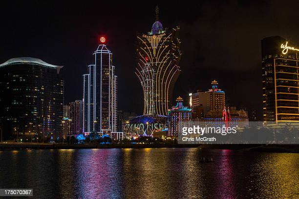 A general view of the Macau Casino district is seen on July 29 2013 in Macau Macau Macau the only place in China with legalized casino gambling is...