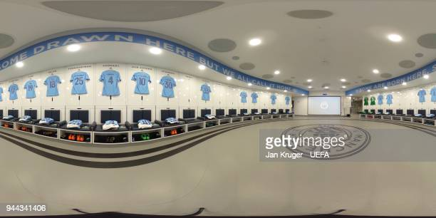 A general view of the Macnhester City FC dressing room prior to the UEFA Champions League quarter final second leg between Manchester City and...