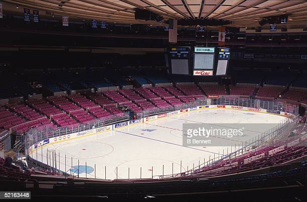 General view of the Madsion Square Garden entertainment and sports complex configured for ice hockey, New York, late 1990s.