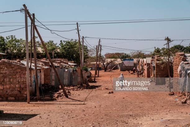 General view of the Mai Aini Refugee camp, in Ethiopia, on January 30, 2021. - Eritrean refugees in Ethiopia fear their suffering may not be over, as...