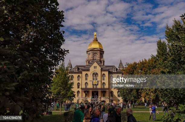 General view of the Main Administration Building and Golden Dome are seen on the campus of Notre Dame University before the Notre Dame Fighting Irish...