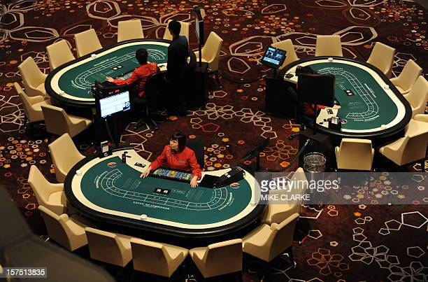 A general view of the main casino floor of the Hard Rock Cafe Hotel is seen inside the City of Dreams complex in Macau on June 1 2009 The launch of...
