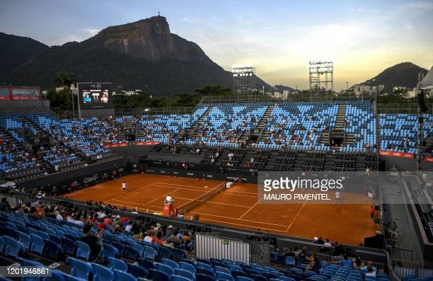 General view of the main court as Argentina's Federico Delbonis and Chile's Cristian Garin play at the ATP World Tour Rio Open 2020 tournament,...