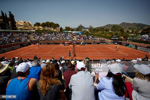 General view of the main court during the game between Garbine Muguruza of Spain and Veronica Cepede Royg of Paraguay during day two of the Fedcup...