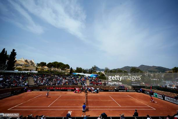 General view of the main court during the match between Carla Suarez Navarro of Spain and Veronica Cepede Royg of Paraguay during day one of the...