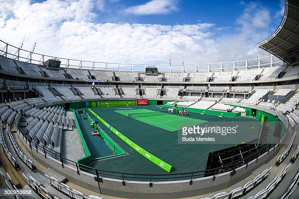 A general view of the main court of the Olympic Tennis Centre at the Olympic Park during the Brazil Master Cup as a test event for the Rio 2016...