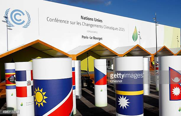 A general view of the main entrance of the Conference on Climate Change COP21 on November 22 2015 in Le Bourget France The climate change conference...