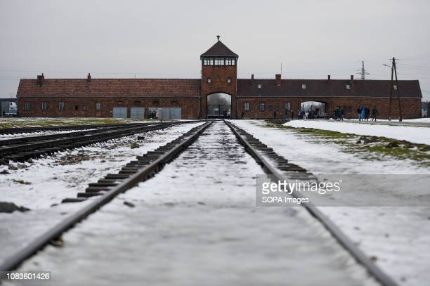 A general view of the main entrance of the former Nazi German Birkenau death camp The holocaust Remembrance Day will take place on January 27 where...