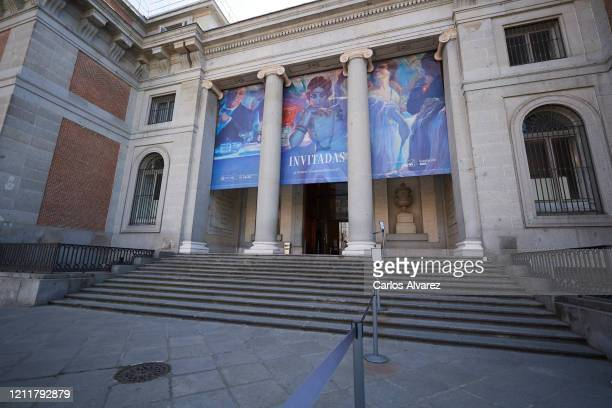 General view of the main entrance of the Prado Museum without people on March 11, 2020 in Madrid, Spain. Many theatre plays and concerts have been...