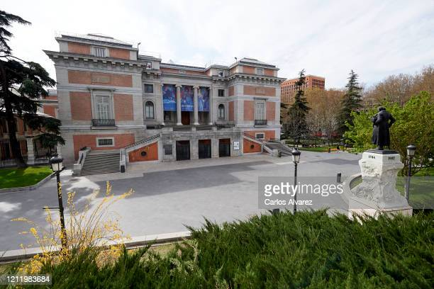 General view of the main entrance of the Prado Museum without people on March 12, 2020 in Madrid, Spain. Many theatre plays and concerts have been...