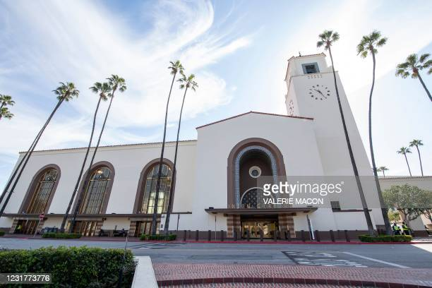 General view of the main entrance of the Union Station, downtown L.A. Where part of the Oscars Ceremony will take place Sunday, April 25, In Los...
