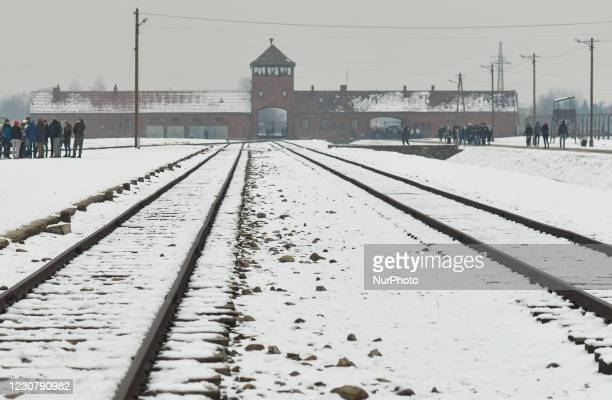 General view of the main gate of Auschwitz II-Birkenau, a German Nazi concentration and extermination camp . Due to the coronavirus pandemic, the...