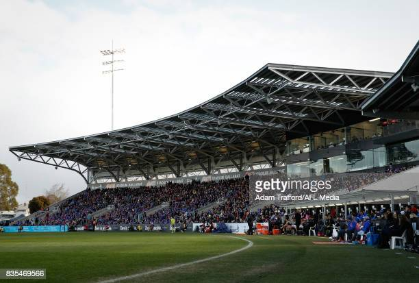A general view of the main grandstand during the 2017 AFL round 22 match between the Western Bulldogs and the Port Adelaide Power at Mars Stadium on...
