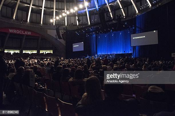 A general view of the main hall of Hala Stulecia before the Composer and conductor Ennio Morricone concert at Hala Stulecia on February 23 2016 in...