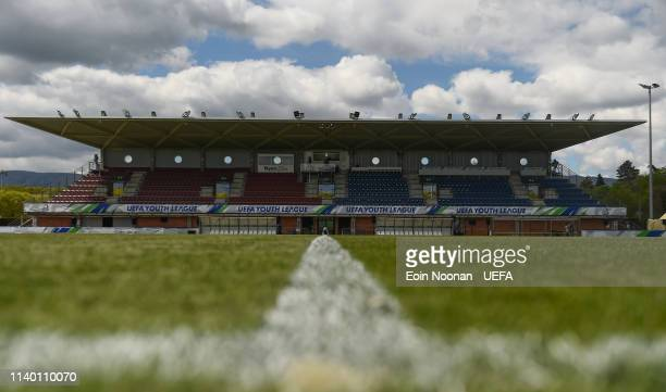 A general view of the main pitch at the Colovray Sports Centre before the Porto v Chelsea UEFA Youth League Final at Colovray Sports Centre on April...