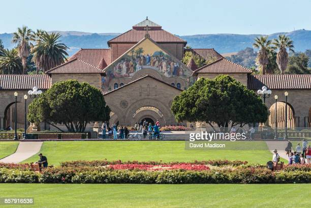 A general view of the Main Quadrangle and Memorial Church on the Stanford University campus before a NCAA Pac12 football game between the Stanford...